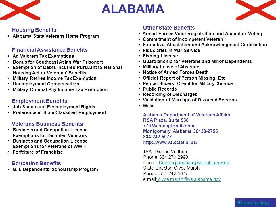 ALABAMA Housing Benefits Alabama State Veterans Home Program Financial Assistance Benefits Ad Valorem Tax Exemptions Bonus for Southeast Asian War Pri
