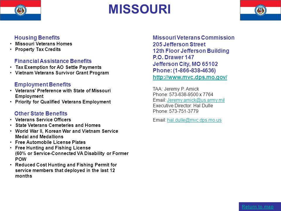 MISSOURI Housing Benefits Missouri Veterans Homes Property Tax Credits Financial Assistance Benefits Tax Exemption for AO Settle Payments Vietnam Vete
