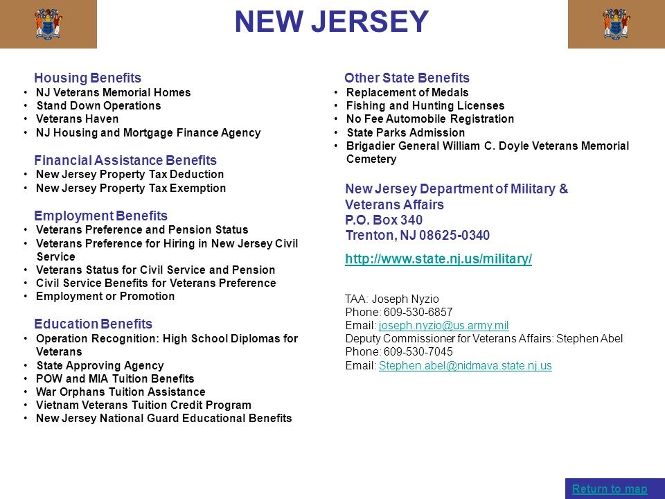 NEW JERSEY Housing Benefits NJ Veterans Memorial Homes Stand Down Operations Veterans Haven NJ Housing and Mortgage Finance Agency Financial Assistanc