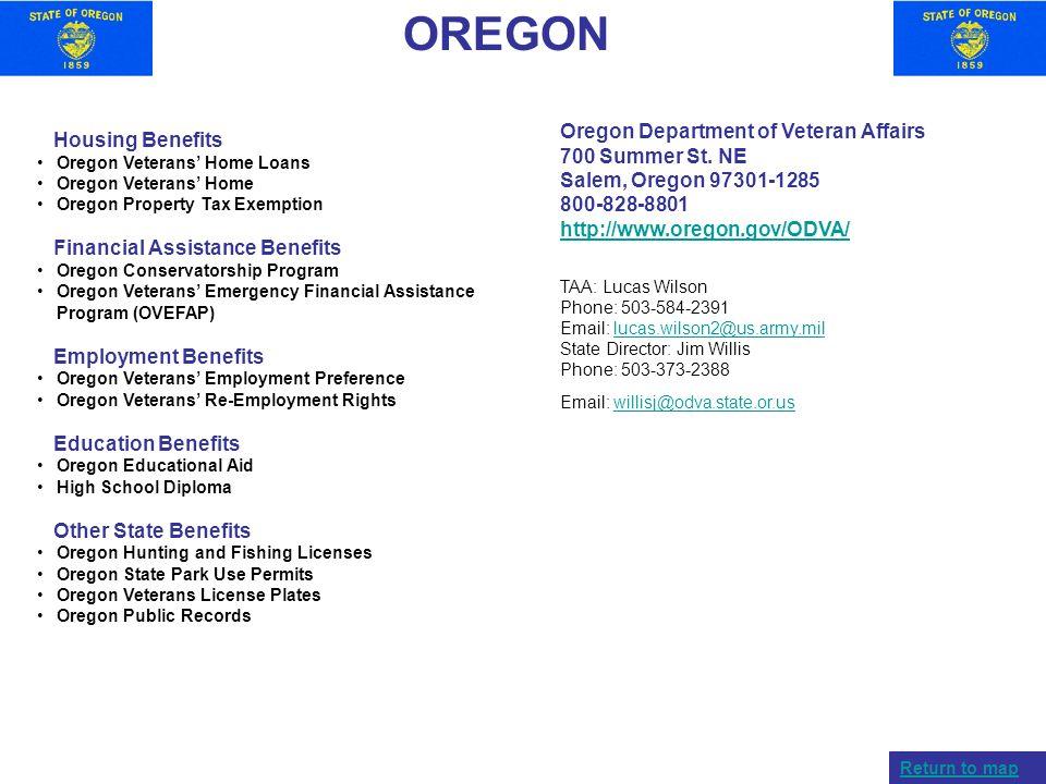 OREGON Housing Benefits Oregon Veterans Home Loans Oregon Veterans Home Oregon Property Tax Exemption Financial Assistance Benefits Oregon Conservator