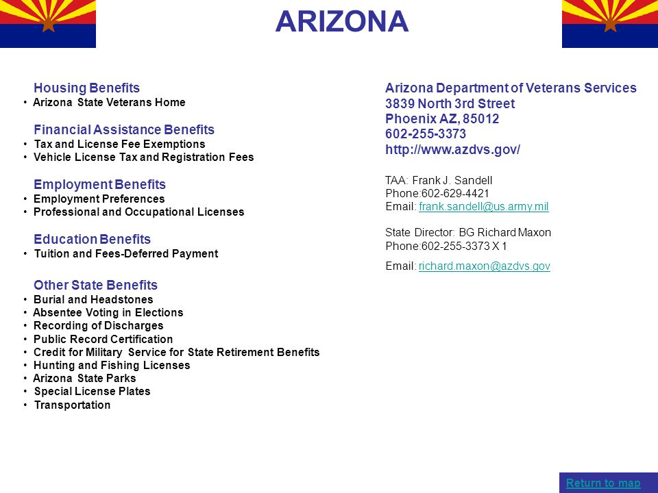 ARIZONA Housing Benefits Arizona State Veterans Home Financial Assistance Benefits Tax and License Fee Exemptions Vehicle License Tax and Registration
