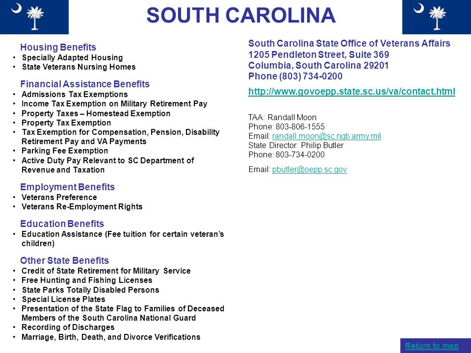 SOUTH CAROLINA Housing Benefits Specially Adapted Housing State Veterans Nursing Homes Financial Assistance Benefits Admissions Tax Exemptions Income