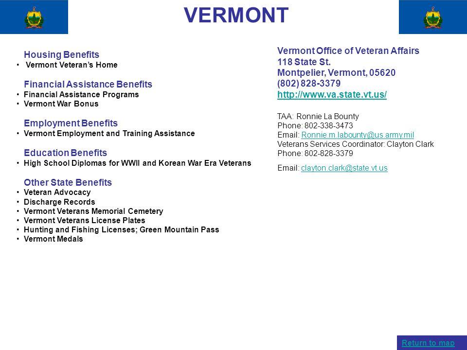 VERMONT Housing Benefits Vermont Veterans Home Financial Assistance Benefits Financial Assistance Programs Vermont War Bonus Employment Benefits Vermo