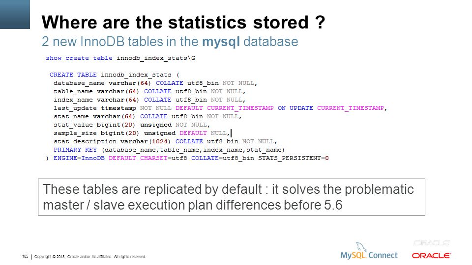 Copyright © 2013, Oracle and/or its affiliates. All rights reserved. 105 Where are the statistics stored ? 2 new InnoDB tables in the mysql database T