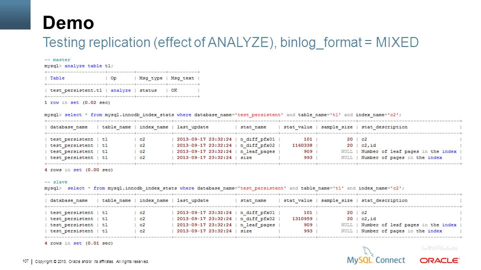 Copyright © 2013, Oracle and/or its affiliates. All rights reserved. 107 Demo Testing replication (effect of ANALYZE), binlog_format = MIXED