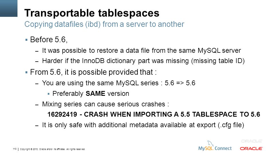 Copyright © 2013, Oracle and/or its affiliates. All rights reserved. 113 Transportable tablespaces Before 5.6, – It was possible to restore a data fil