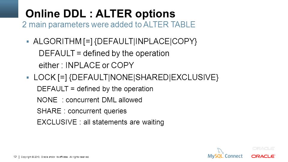 Copyright © 2013, Oracle and/or its affiliates. All rights reserved. 121 Online DDL : ALTER options ALGORITHM [=] {DEFAULT|INPLACE|COPY} DEFAULT = def