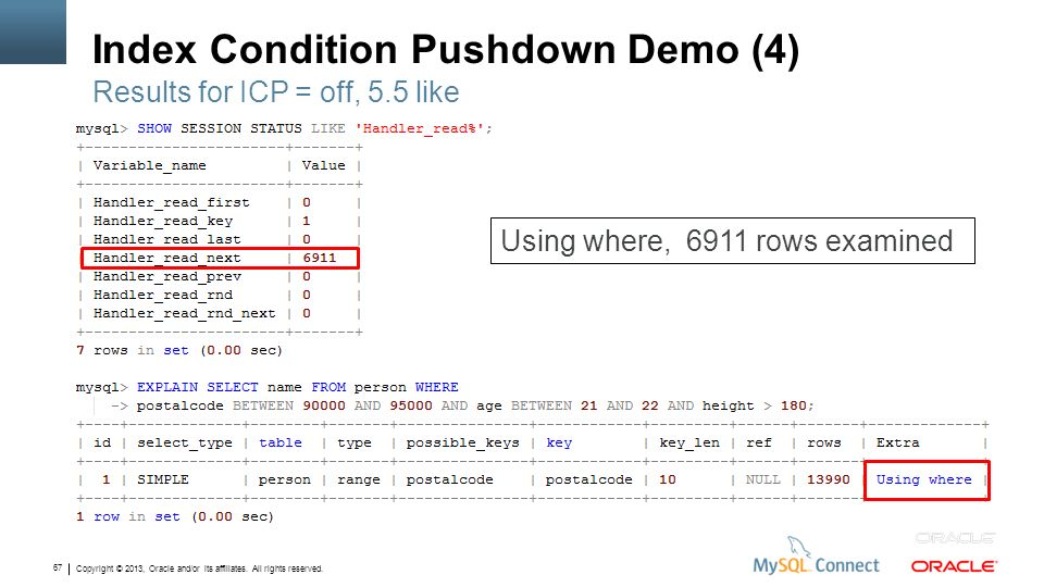 Copyright © 2013, Oracle and/or its affiliates. All rights reserved. 67 Index Condition Pushdown Demo (4) Results for ICP = off, 5.5 like Using where,