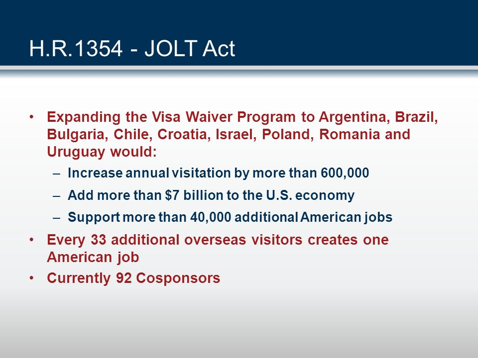 Immigration Reform Visa Waiver Program expansion Pilot videoconferencing program Processing and screening metrics Reauthorization for Travel Promotion Act 3,500 new CBP officers Expedited visa reviews