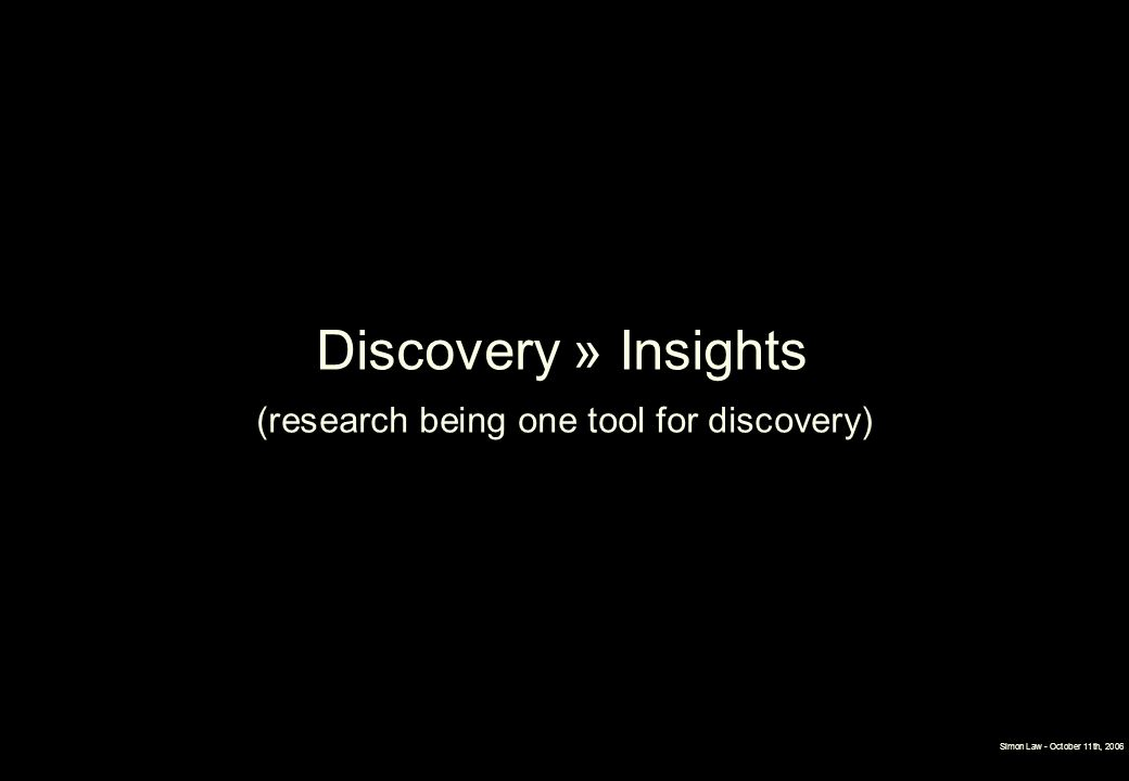 Simon Law - October 11th, 2006 Discovery » Insights (research being one tool for discovery)