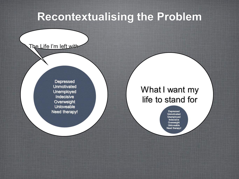 Recontextualising the Problem DepressedUnmotivatedUnemployedIndecisiveOverweightUnloveable Need therapy! What I want my life to stand for DepressedUnm