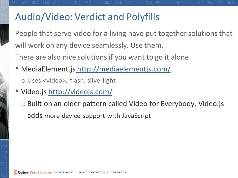 30 © COPYRIGHT 2012 SAPIENT CORPORATION | CONFIDENTIAL Audio/Video: Verdict and Polyfills People that serve video for a living have put together solutions that will work on any device seamlessly.