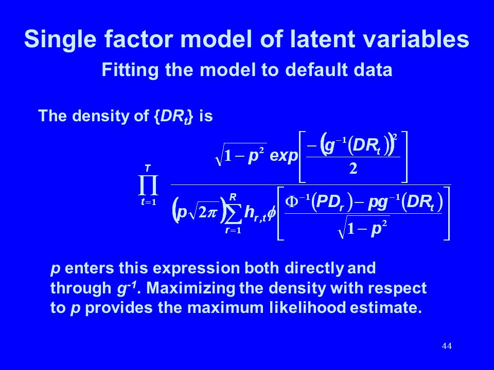 44 Single factor model of latent variables Fitting the model to default data The density of {DR t } is p enters this expression both directly and thro
