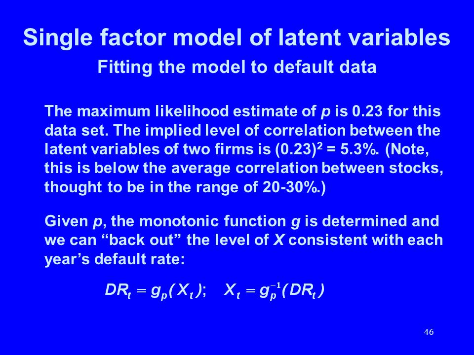 46 Single factor model of latent variables Fitting the model to default data The maximum likelihood estimate of p is 0.23 for this data set. The impli