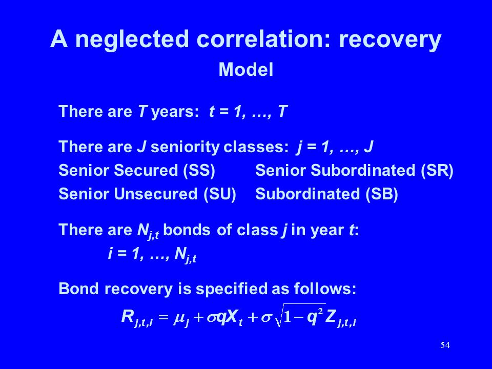 54 A neglected correlation: recovery Model There are T years: t = 1, …, T There are J seniority classes: j = 1, …, J Senior Secured (SS)Senior Subordi