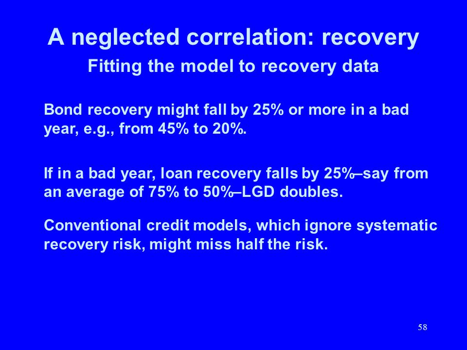 58 A neglected correlation: recovery Fitting the model to recovery data Bond recovery might fall by 25% or more in a bad year, e.g., from 45% to 20%.