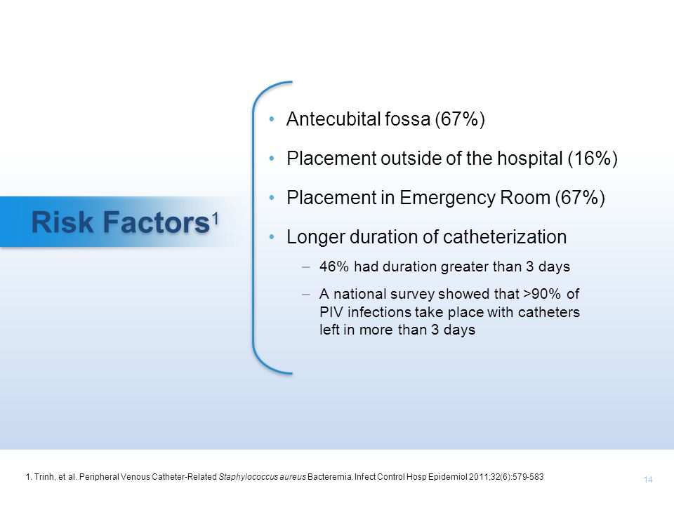 14 Risk Factors 1 Antecubital fossa (67%) Placement outside of the hospital (16%) Placement in Emergency Room (67%) Longer duration of catheterization