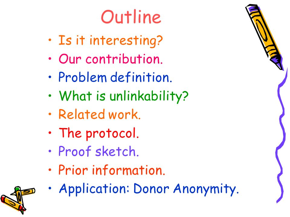 Outline Is it interesting? Our contribution. Problem definition. What is unlinkability? Related work. The protocol. Proof sketch. Prior information. A