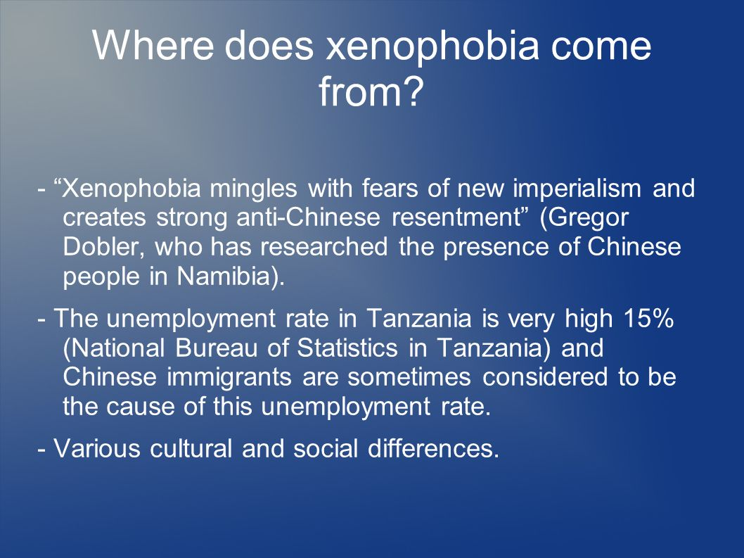Where does xenophobia come from? - Xenophobia mingles with fears of new imperialism and creates strong anti-Chinese resentment (Gregor Dobler, who has