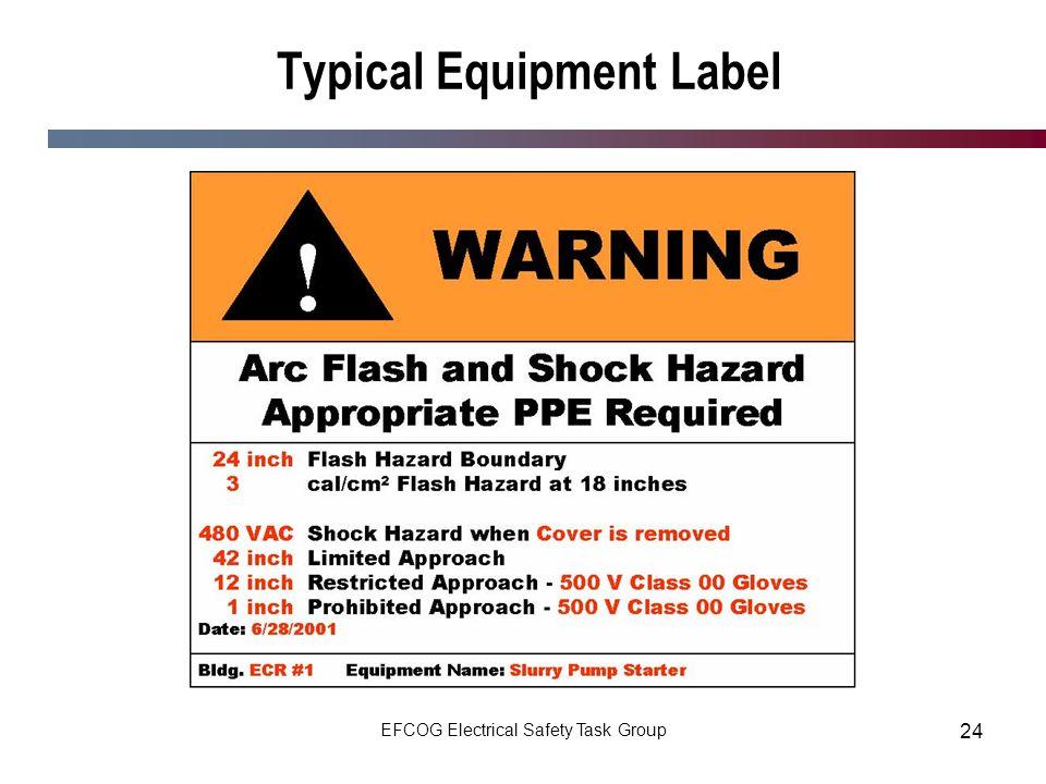 EFCOG Electrical Safety Task Group 24 Typical Equipment Label