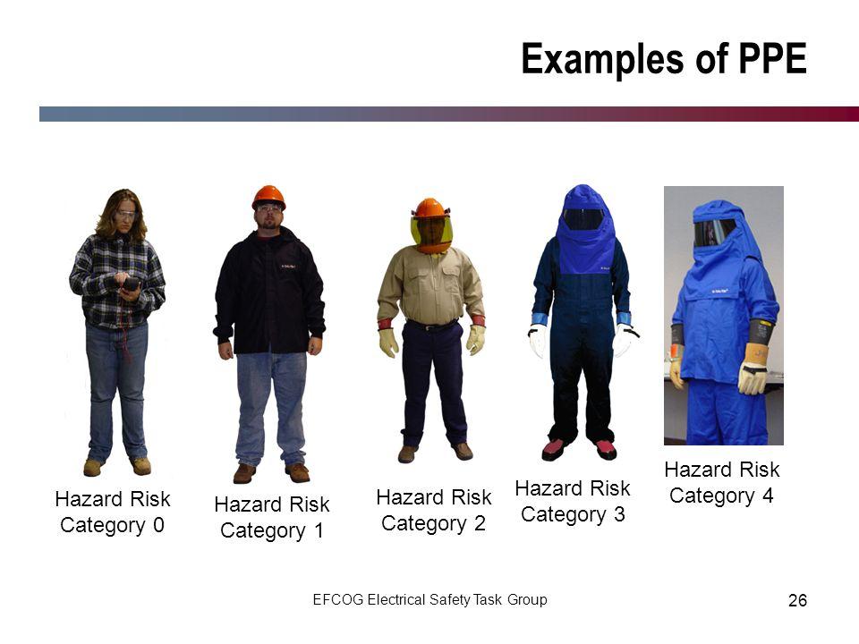 EFCOG Electrical Safety Task Group 26 Examples of PPE Hazard Risk Category 1 Hazard Risk Category 2 Hazard Risk Category 3 Hazard Risk Category 4 Haza