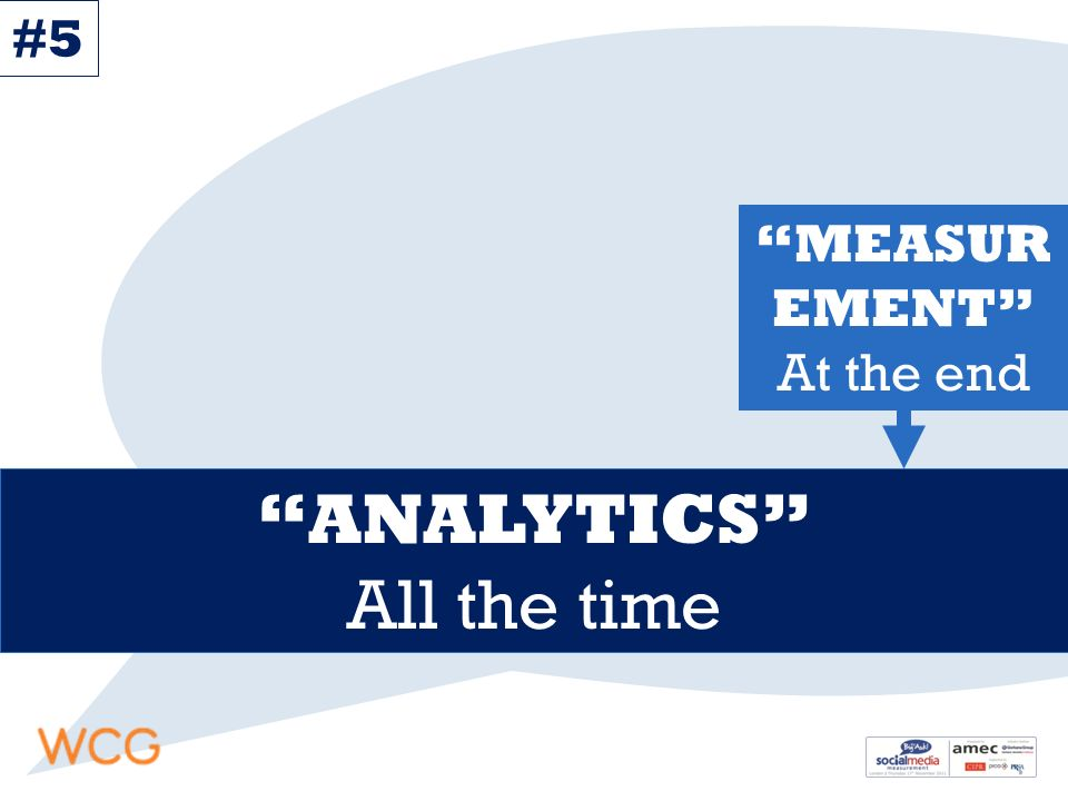 MEASUR EMENT At the end ANALYTICS All the time #5