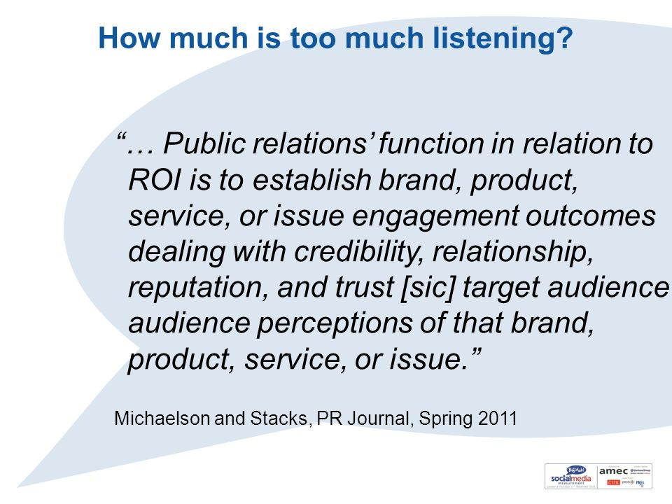 How much is too much listening? … Public relations function in relation to ROI is to establish brand, product, service, or issue engagement outcomes d