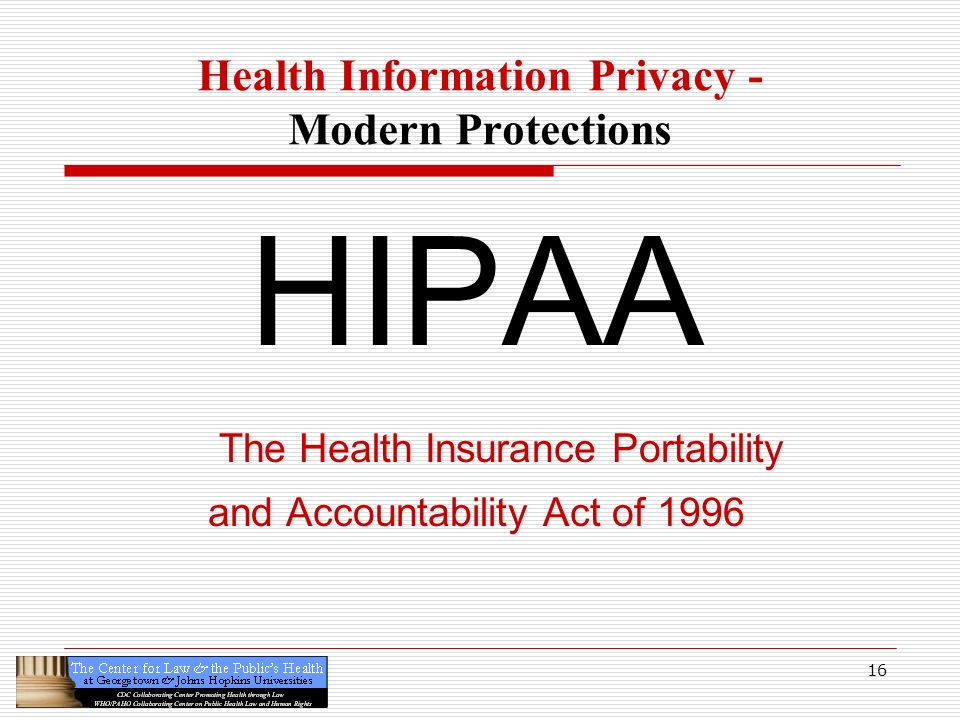 16 Health Information Privacy - Modern Protections HIPAA The Health Insurance Portability and Accountability Act of 1996