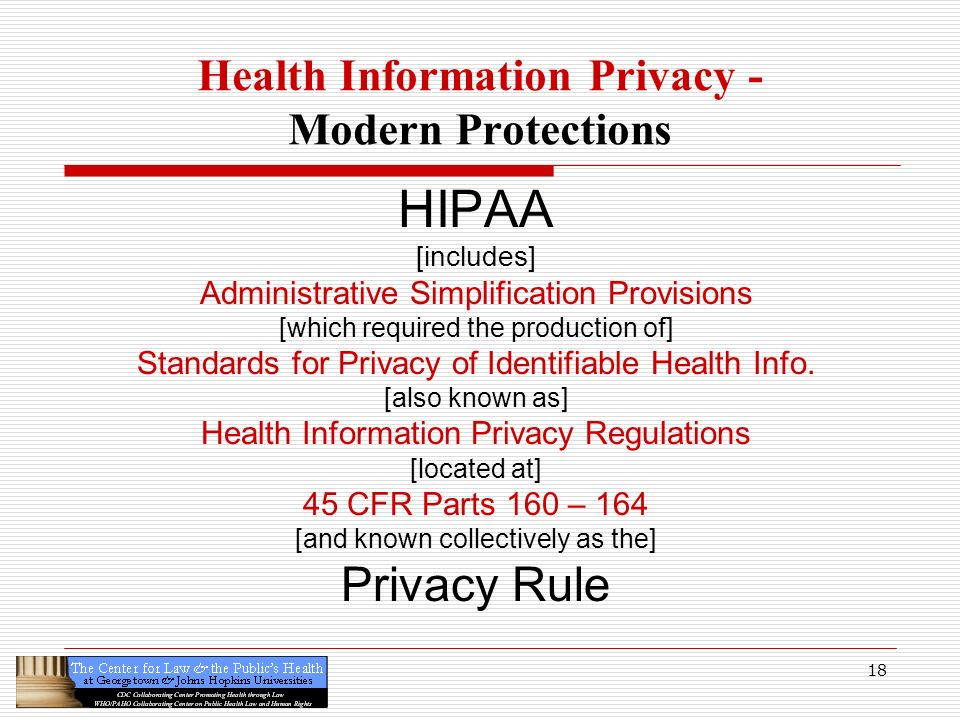 18 Health Information Privacy - Modern Protections HIPAA [includes] Administrative Simplification Provisions [which required the production of] Standa