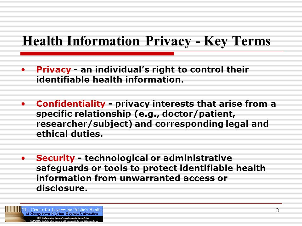 3 Health Information Privacy - Key Terms Privacy - an individuals right to control their identifiable health information. Confidentiality - privacy in