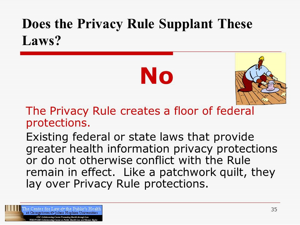 35 Does the Privacy Rule Supplant These Laws? No The Privacy Rule creates a floor of federal protections. Existing federal or state laws that provide