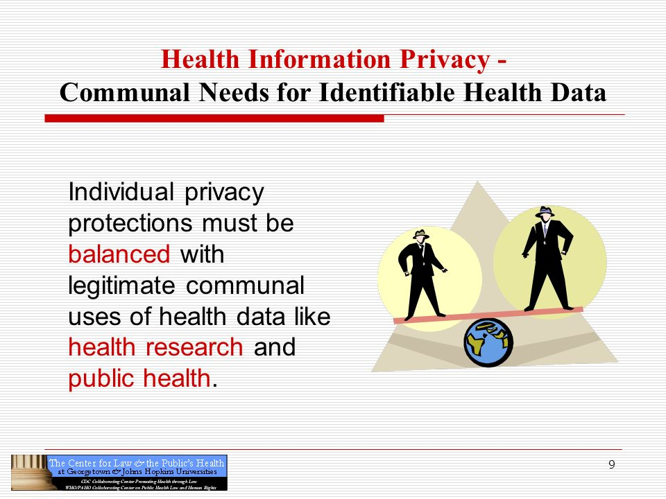 9 Health Information Privacy - Communal Needs for Identifiable Health Data Individual privacy protections must be balanced with legitimate communal us