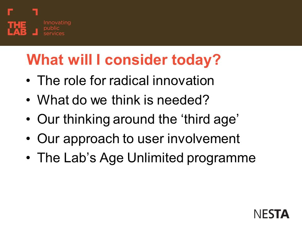 The need for radical innovation.What will be the impact on our society.