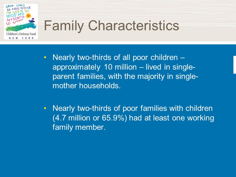 Family Characteristics Nearly two-thirds of all poor children – approximately 10 million – lived in single- parent families, with the majority in sing