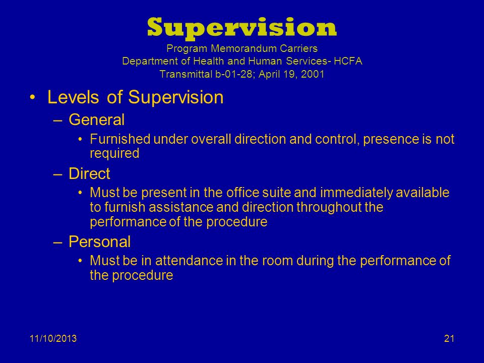 11/10/2013 Supervision Program Memorandum Carriers Department of Health and Human Services- HCFA Transmittal b-01-28; April 19, 2001 Levels of Supervi