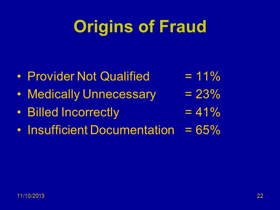 11/10/2013 Origins of Fraud Provider Not Qualified= 11% Medically Unnecessary = 23% Billed Incorrectly= 41% Insufficient Documentation= 65% 22