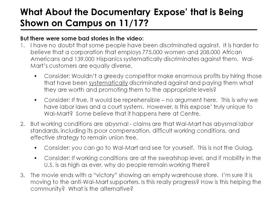 What About the Documentary Expose that is Being Shown on Campus on 11/17.