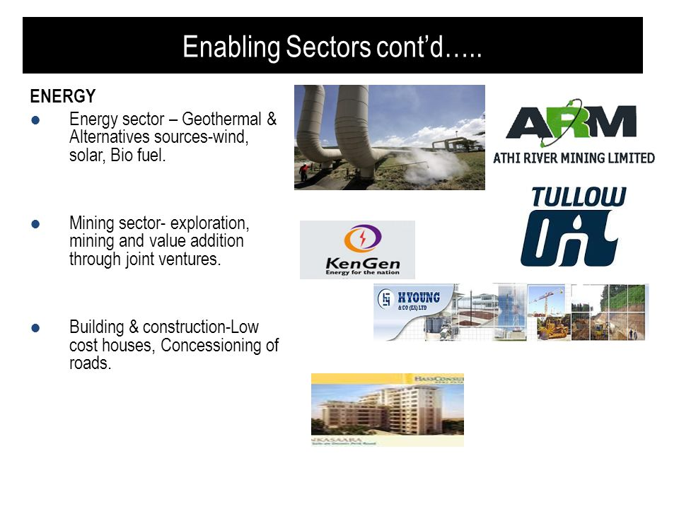 Enabling Sectors contd….. ENERGY Energy sector – Geothermal & Alternatives sources-wind, solar, Bio fuel. Mining sector- exploration, mining and value
