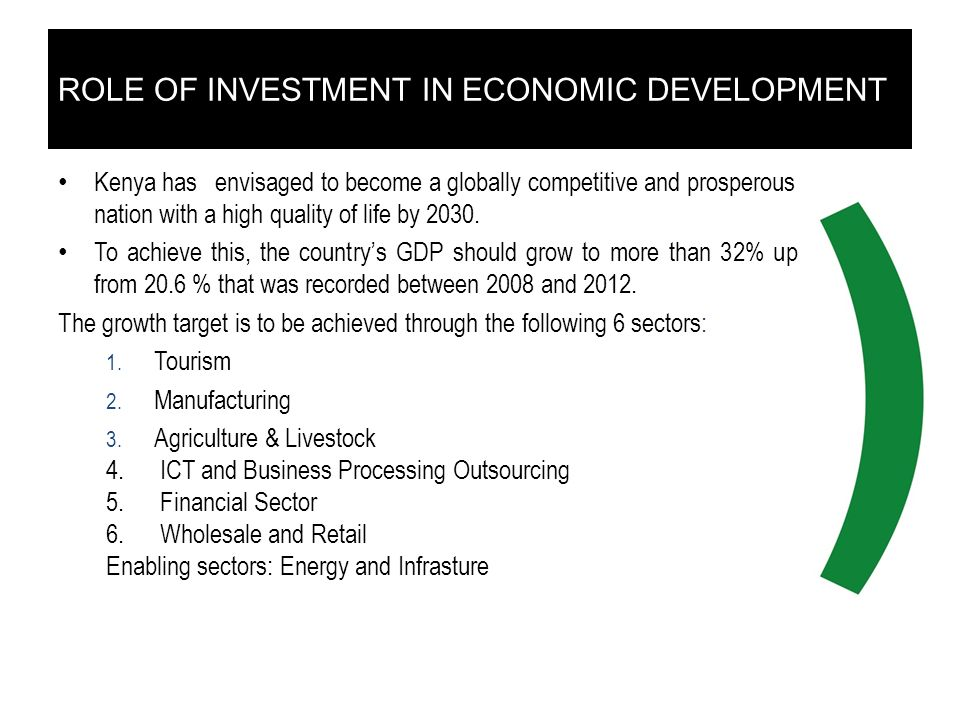 ROLE OF INVESTMENT IN ECONOMIC DEVELOPMENT Kenya has envisaged to become a globally competitive and prosperous nation with a high quality of life by 2