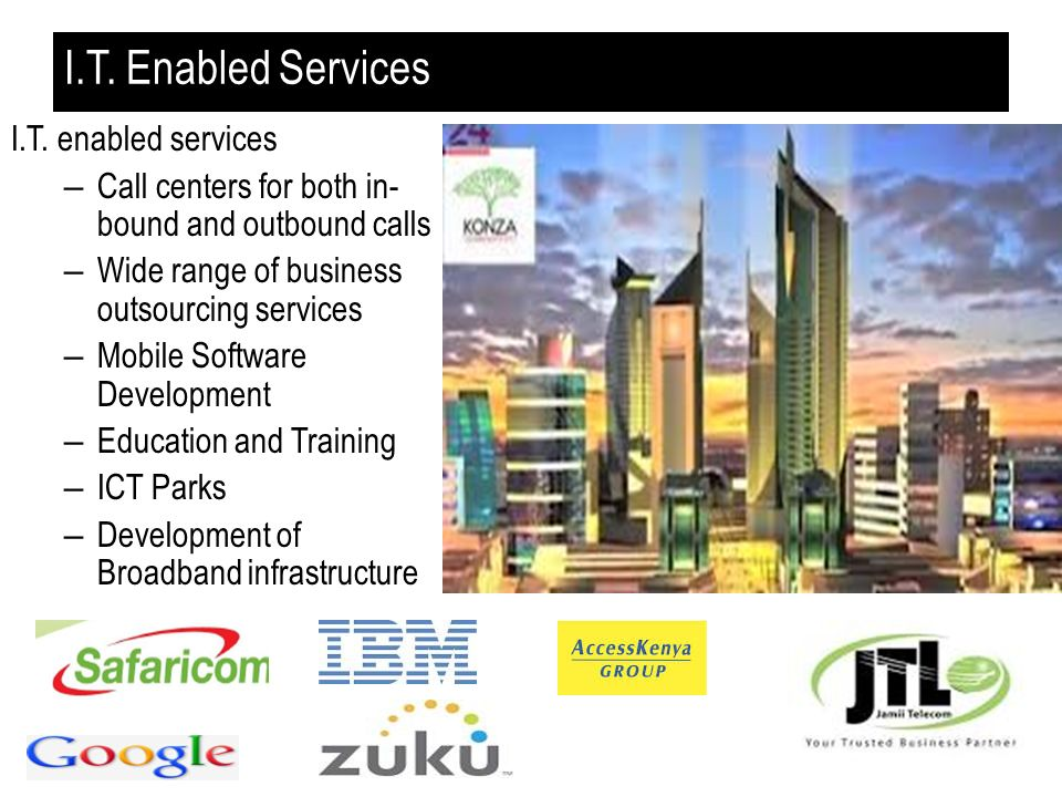 I.T. Enabled Services I.T. enabled services – Call centers for both in- bound and outbound calls – Wide range of business outsourcing services – Mobil