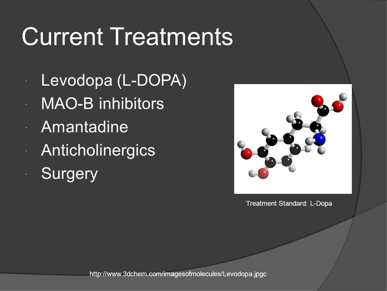 Current Treatments Levodopa (L-DOPA) MAO-B inhibitors Amantadine Anticholinergics Surgery http://www.3dchem.com/imagesofmolecules/Levodopa.jpgc Treatm