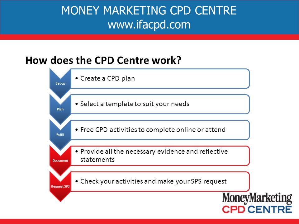 MONEY MARKETING CPD CENTRE   How does the CPD Centre work.