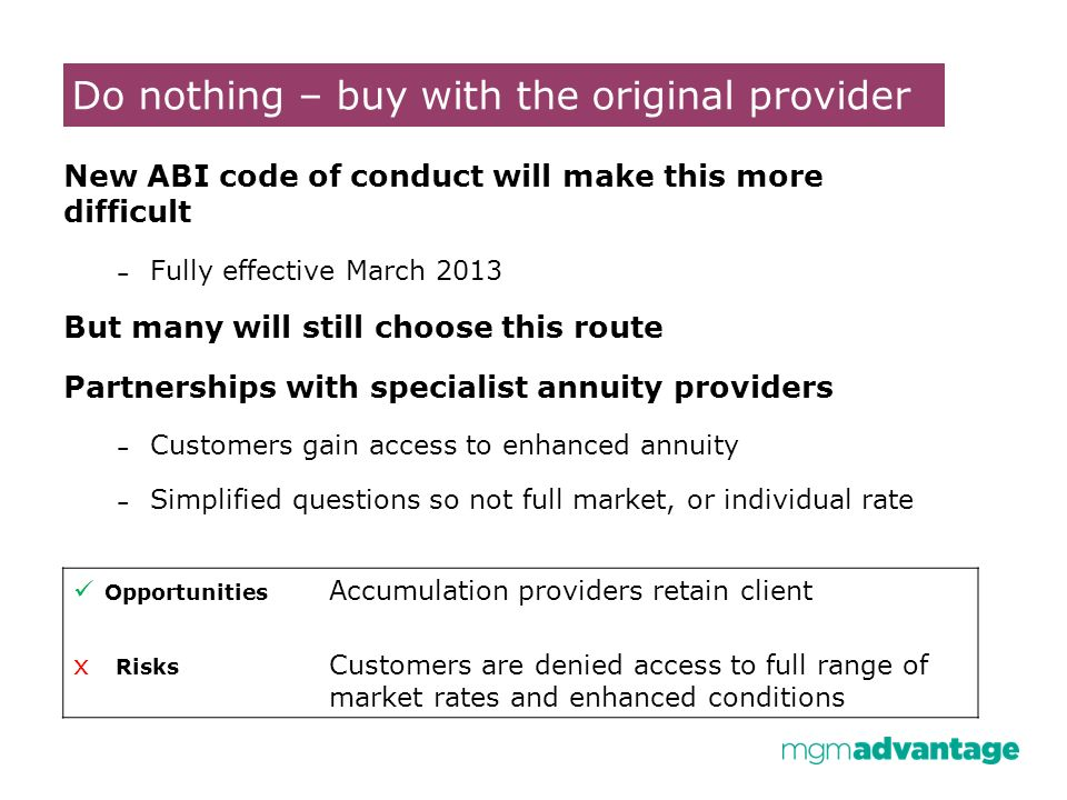Do nothing – buy with the original provider New ABI code of conduct will make this more difficult – Fully effective March 2013 But many will still choose this route Partnerships with specialist annuity providers – Customers gain access to enhanced annuity – Simplified questions so not full market, or individual rate Opportunities Accumulation providers retain client x Risks Customers are denied access to full range of market rates and enhanced conditions