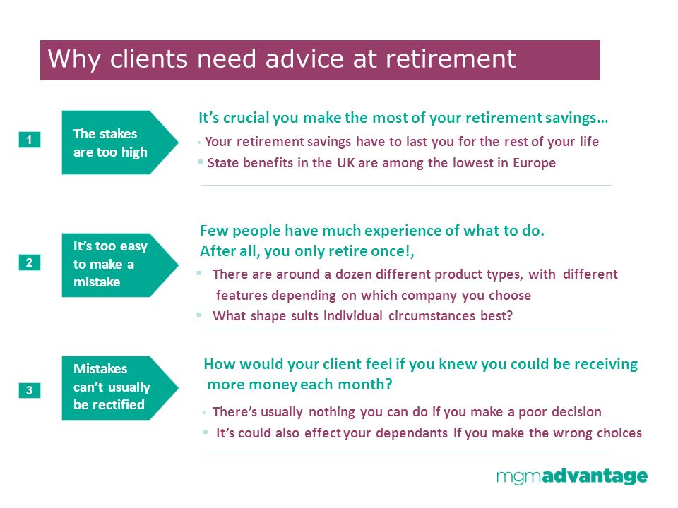 Agree objectives 1 2 3 Present optionsRecommendations Implementation Your retirement savings have to last you for the rest of your life State benefits in the UK are among the lowest in Europe There are around a dozen different product types, with different features depending on which company you choose What shape suits individual circumstances best.