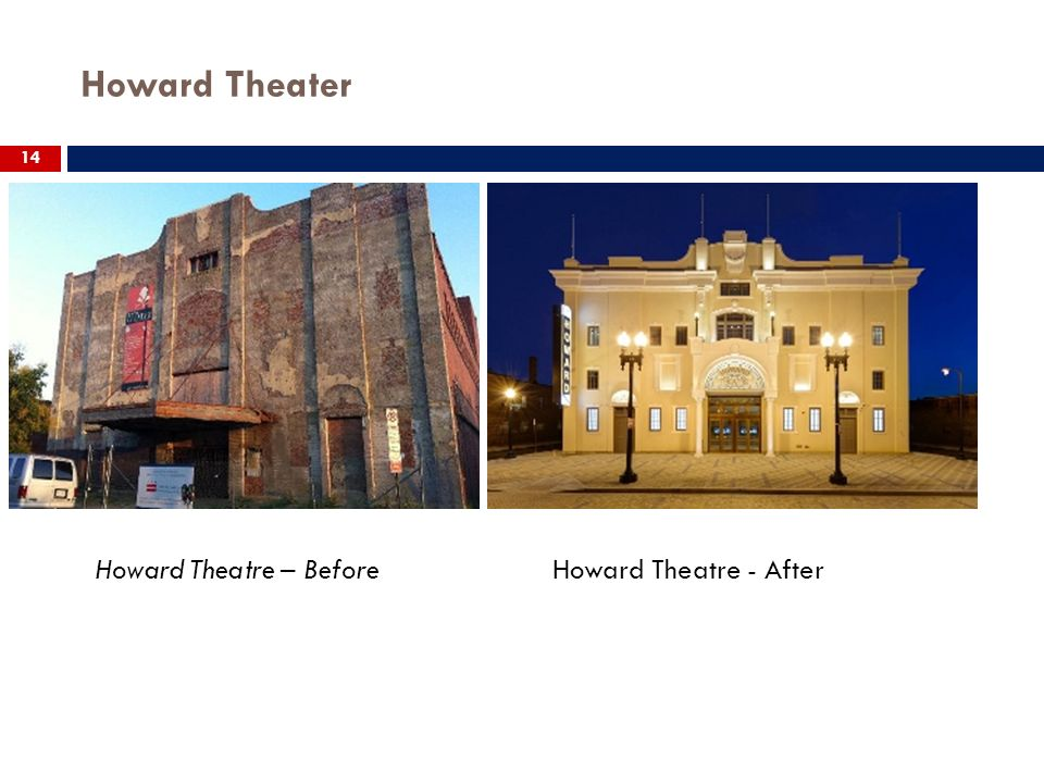 Howard Theater 14 Howard Theatre – Before Howard Theatre - After