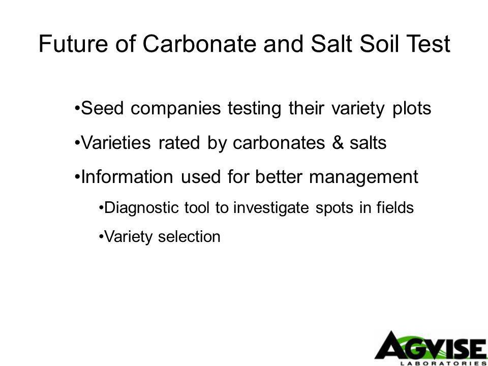 Future of Carbonate and Salt Soil Test Seed companies testing their variety plots Varieties rated by carbonates & salts Information used for better management Diagnostic tool to investigate spots in fields Variety selection