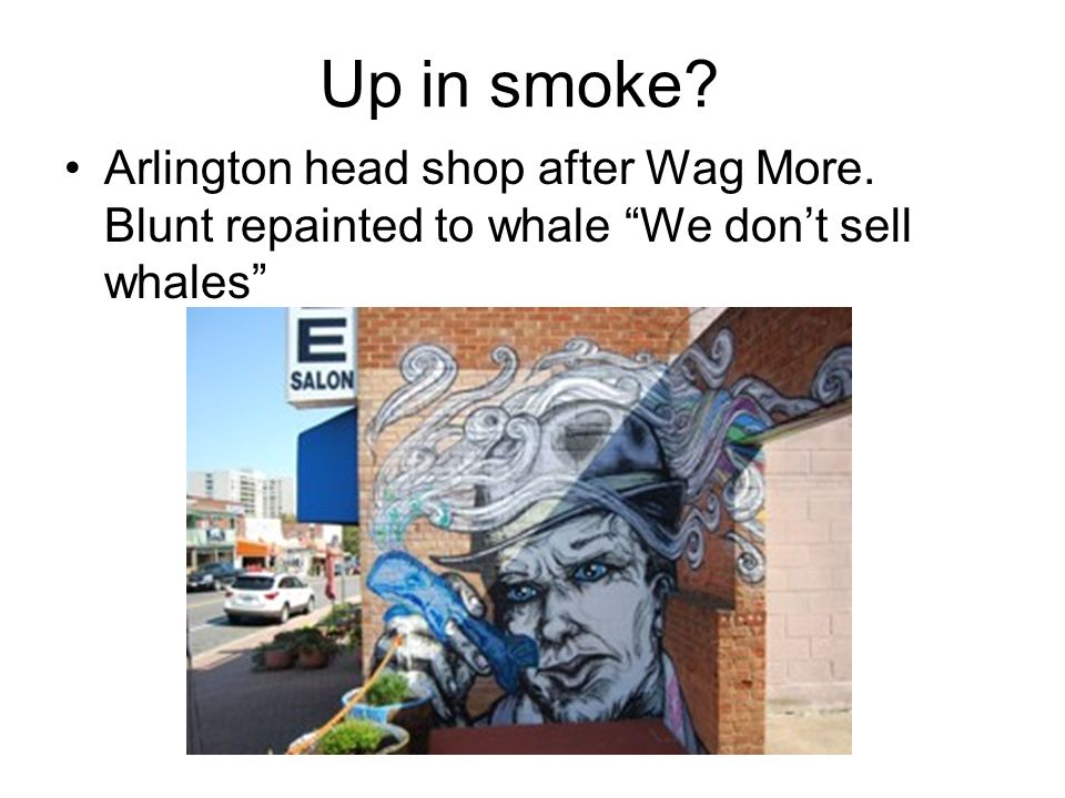 Up in smoke? Arlington head shop after Wag More. Blunt repainted to whale We dont sell whales