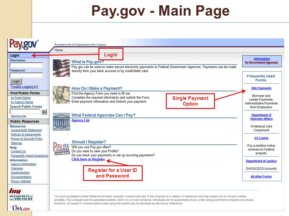 Pay.gov - Main Page Login Single Payment Option Register for a User ID and Password
