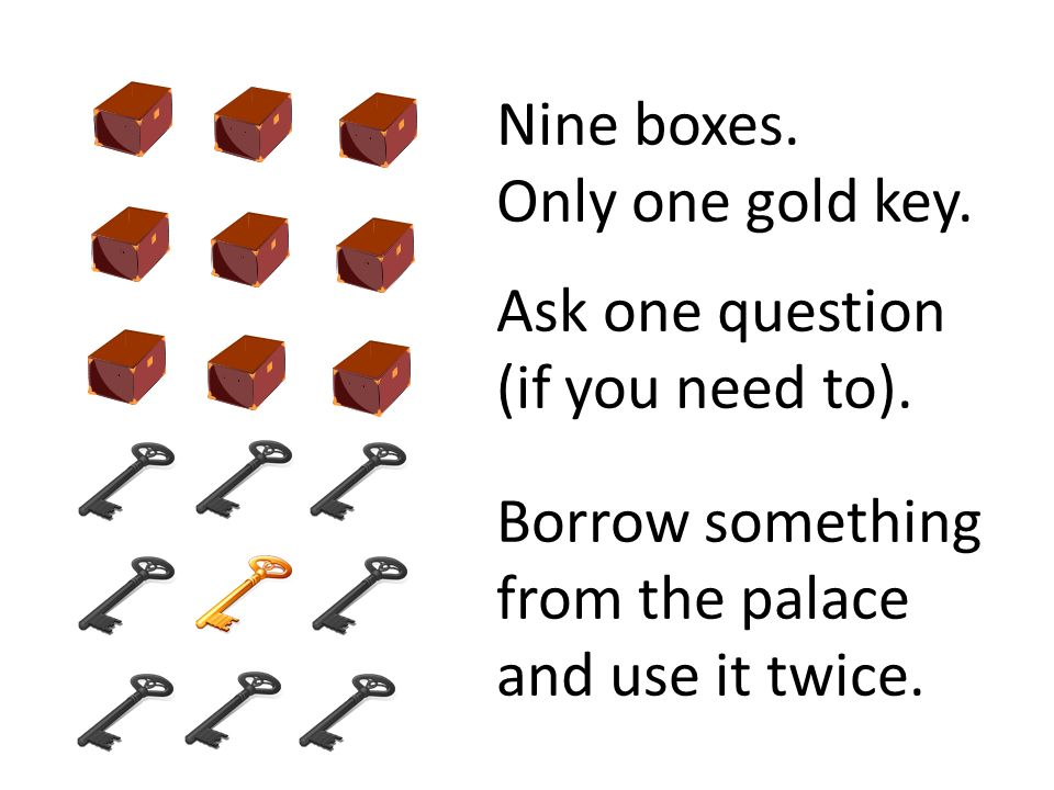 Nine boxes. Only one gold key. Ask one question (if you need to).