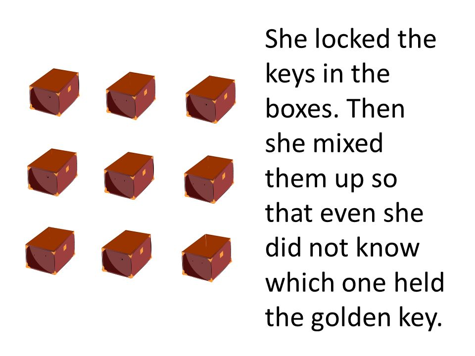 She locked the keys in the boxes. Then she mixed them up so that even she did not know which one held the golden key.